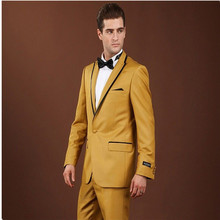 New men's suit formal PROM man's wedding gown with yellow lapels of black men (jackets and trousers)