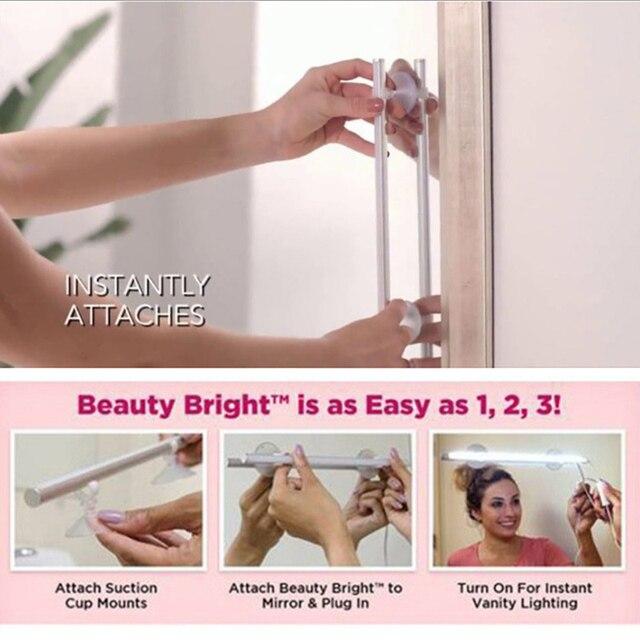 LEDGLE 50 Leds Make-Up Spiegel Front Lampe Kunststoff Eitelkeit Licht Schalter Bad Tragbare Eitelkeit tisch Lichter Kühles Weiß Lichter