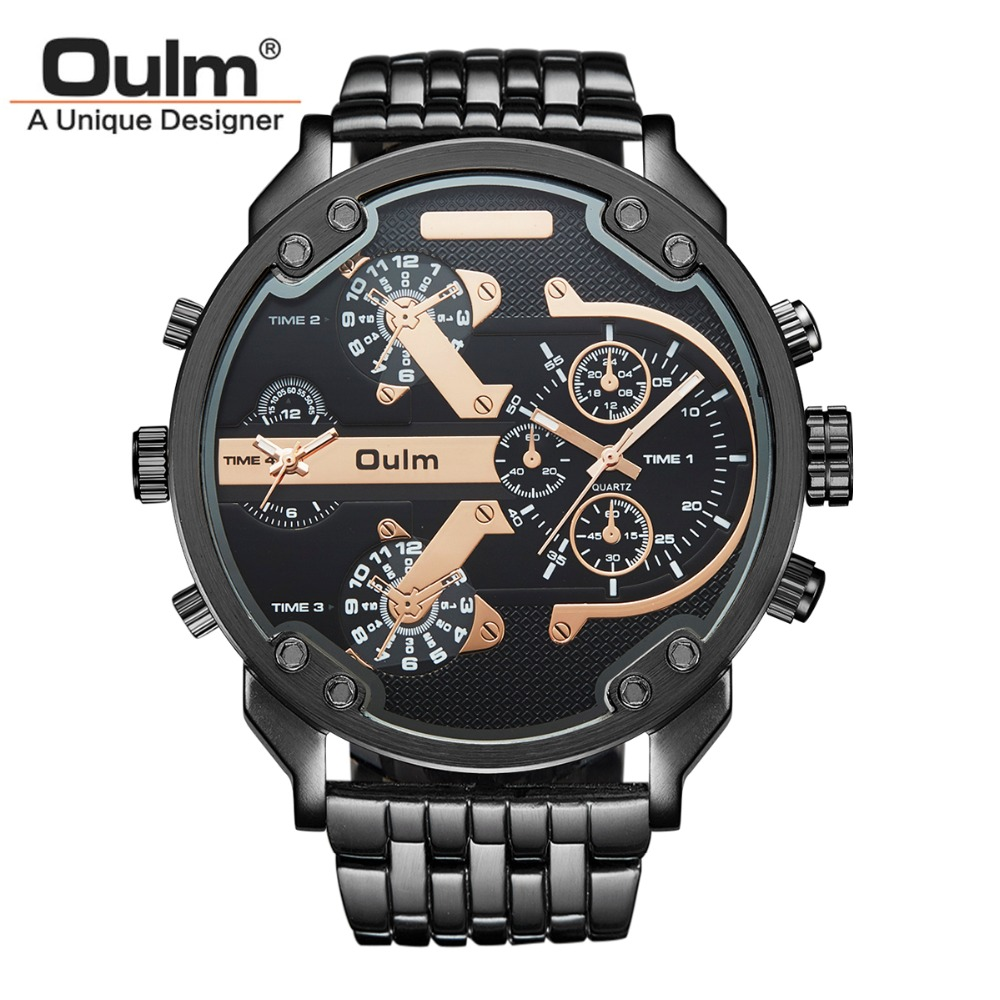 Oulm Brand Large Big Dial Watches Mens Unique Designer 2 Quartz Movement Watch Male Heavy Full Steel Leather Strap Wrist Watch