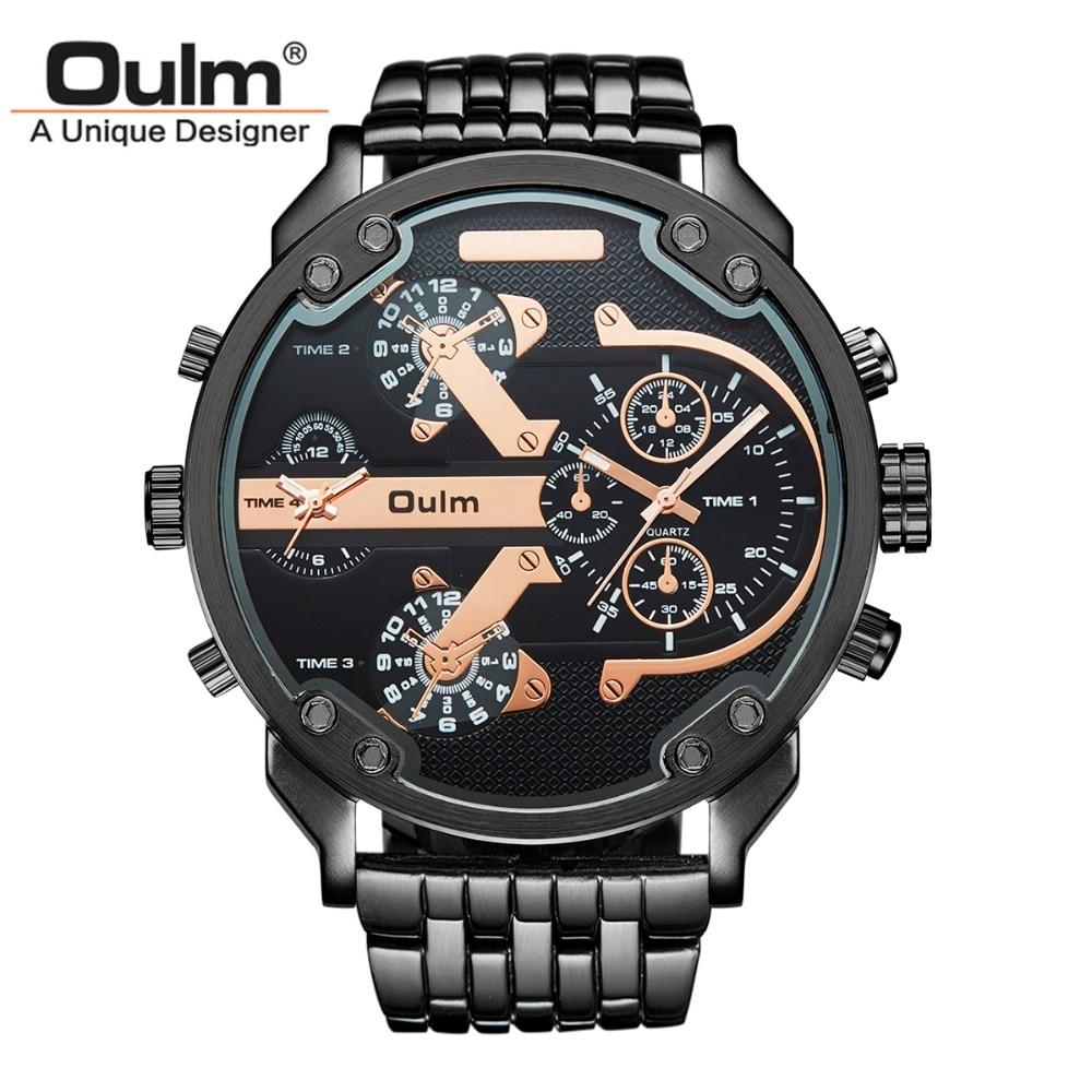 Oulm Marke Große Große Zifferblatt Uhren Herren Einzigartige Designer 2 Quarzwerk Uhr Männlich Voller Stahl Lederband Handgelenk uhr