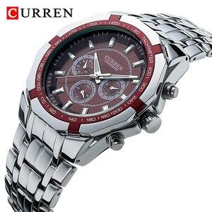 CURREN Мужские Роскошные брендовые военные спортивные мужские часы, полностью Стальные кварцевые часы, мужские водонепроницаемые деловые час...
