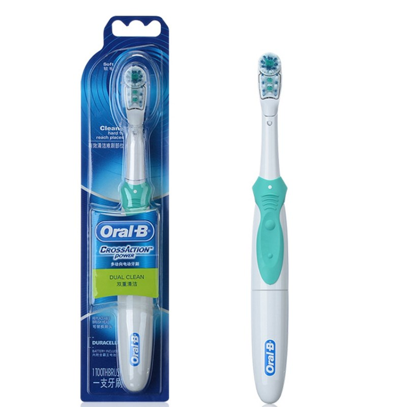 Oral B Dual Clean Electric Toothbrush Teeth Whitening Cross Action Tooth Brush Non-Rechargeable Battery Powered Brush Tooth