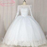 SuperKimJo Vestido De Novia Casamento Long Sleeve Lace Applique Wedding Ball Gown Luxury White Cheap Princess