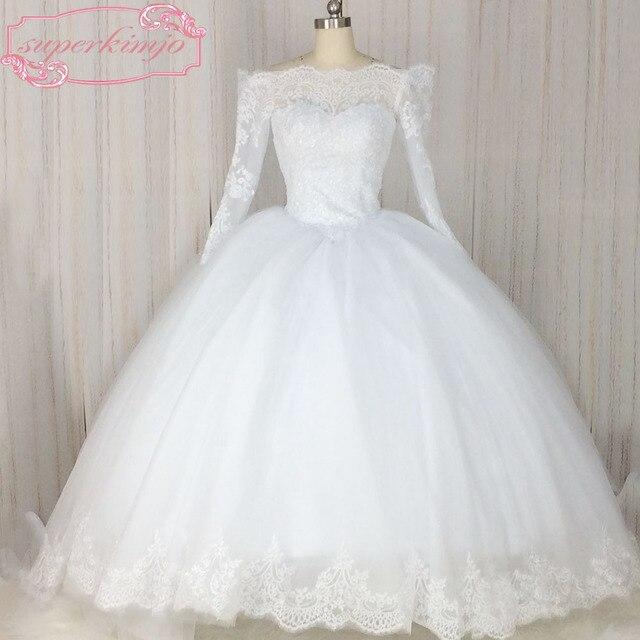 SuperKimJo Vestido De Novia Casamento Long Sleeve Lace Applique ...