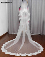 2016 Two Layers Lace Edge Long Bridal Veil With Comb White Ivory Beautiful Wedding Veil For