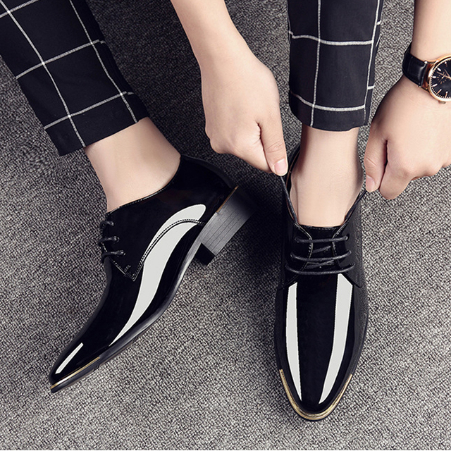luxury Brand Men Classic Pointed Toe Dress Mens Lace up Patent Leather Black Wedding Oxford Formal Shoes Big Size 38-48