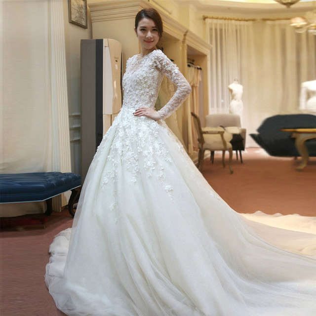 Romantic Cathedral Train Ball Gown Wedding Dress With Pearls 2016 ...