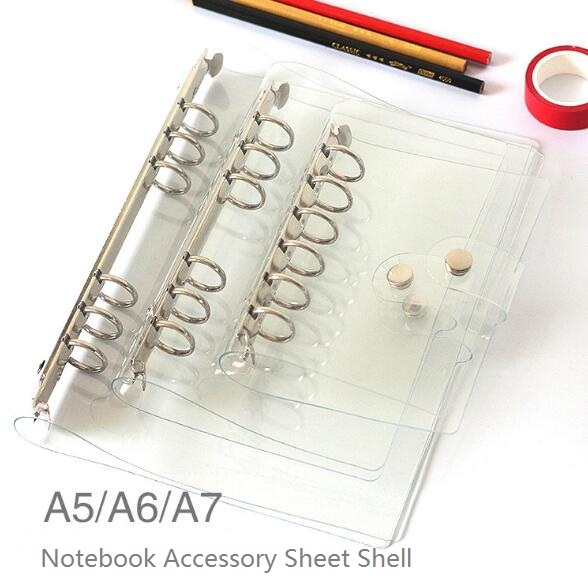 2017 A5/A6/A7 PVC Notebook Accessory Sheet Shell Office School Transparent Concise 6 Holes Binder Planner Cover Bullet Journal