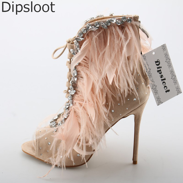 4abfa2f91 Ladies Summer Feather Cover Bling Rhinestones Decor Ankle Boots Women Lace  Up Peep toe Stiletto Heels