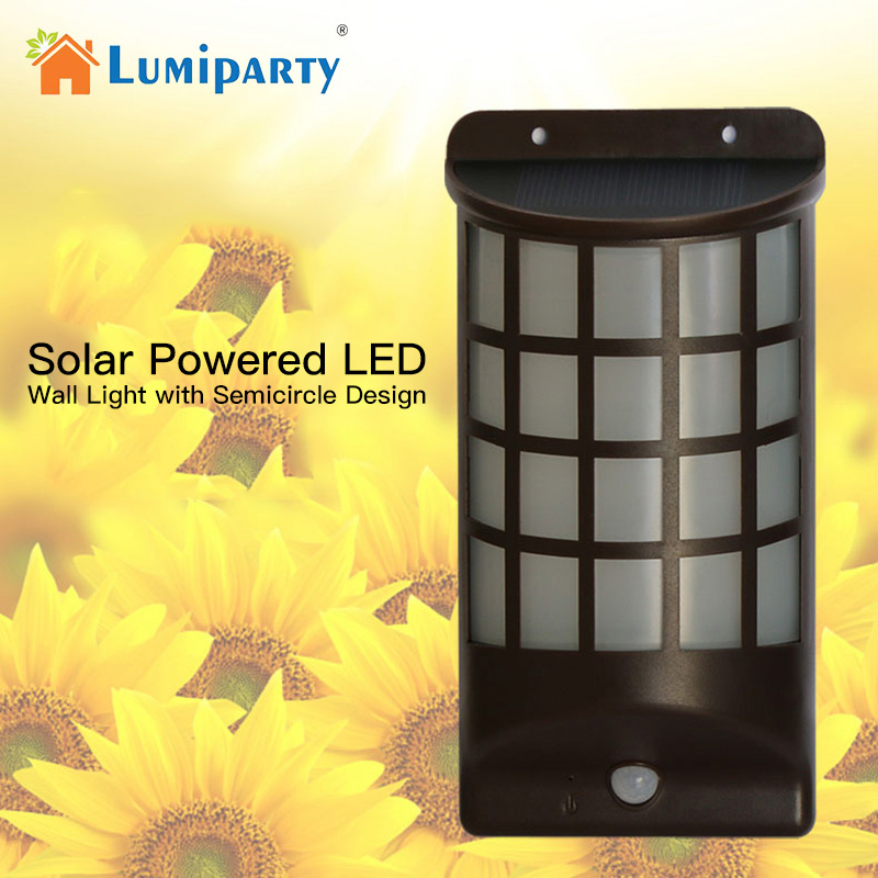 Best buy ) }}Lumiparty New LED Solar Power Wall Light Semi cylinder Wireless Waterproof Motion Sensor