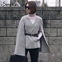 Simplee Casual v neck belt winter cape Women elegant split pocket autumn overcoat Female streetwear grey outerwear coat 2017