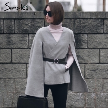 Simplee Casual v neck belt winter cape Women elegant split pocket autumn overcoat Female streetwear grey outerwear coat 2017(China)