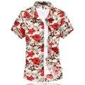 2016 Mens Del Verano Camisa de La Flor del Estilo Chino de Manga Corta Floral Hombres de la camisa Más Tamaño 6XL Casual Slim Fit Algodón Mercerizado camisas