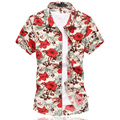 2016 Summer Mens Flower Shirt Chinese Style Short Sleeve Floral Shirt Men Plus Size 6XL Casual Slim Fit Mercerized Cotton Shirts