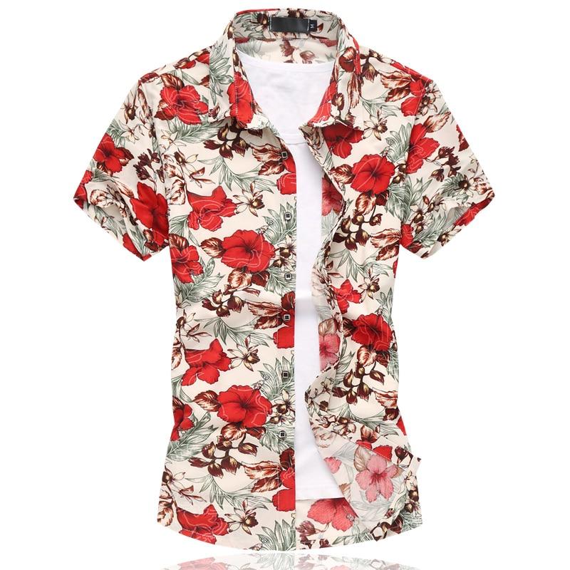 2019 여름 망 꽃 셔츠 중국 스타일 짧은 소매 꽃 셔츠 남자 플러스 크기 6XL 캐주얼 슬림 맞는 Mercerized 코튼 셔츠