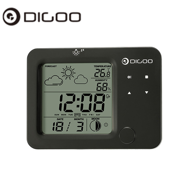 Digoo DG-C5 C5 Wireless Touch Sensor Weather Forecast Station Blue Backlit  Hygrometer Thermometer LED Alarm Clock