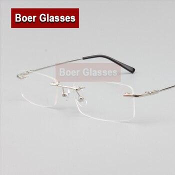 detaillierte Bilder heiß-verkaufender Beamter attraktive Designs Randlose Brille speicher titanium flexible männer brillen rezept spektakel  optischen rahmen 8119