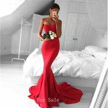 Rot Farbe Lange Abendkleider 2017 Robe de Soiree Sexy Meerjungfrau Schatz Bodenlangen Abendkleid Formales Abschlussball-kleider