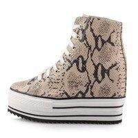 2017 Модные леопардовые женские туфли на платформе и высоком каблуке из натуральной кожи, визуально увеличивающие рост; повседневные женские