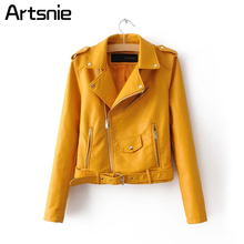 Elegant Zipper Pu Basic Jackets Coat Classic Leather Fuax Jacket Women Winter Outerwear Coats Yellow Sashes Jackets 2018