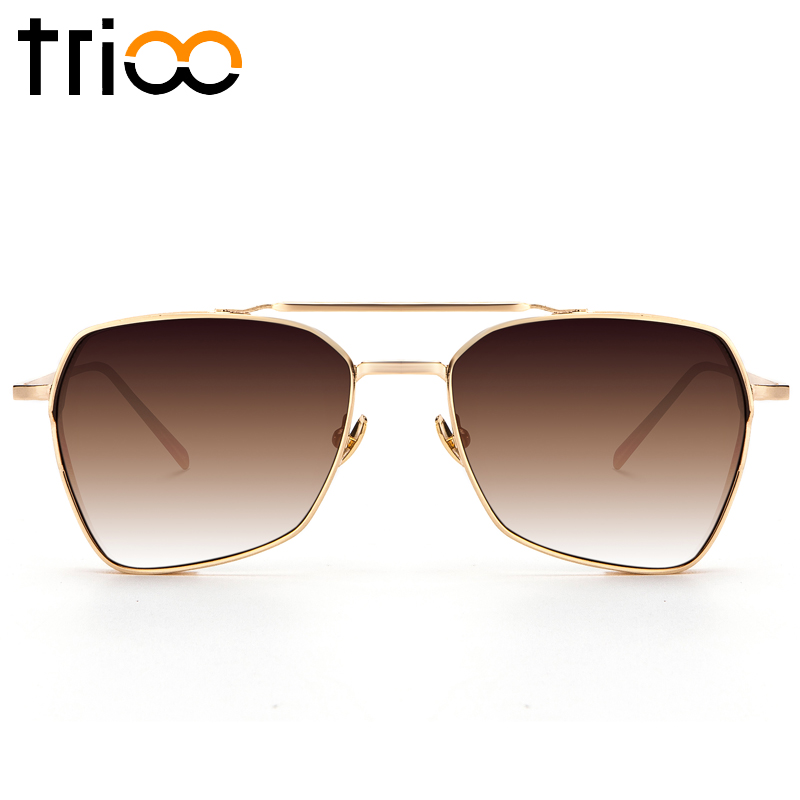 TRIOO Cool Steampunk Metal Sunglasses Men Luxury Black Lunettes UV400 Protection Sun Glasses For Men Gold Thick Frame Shades