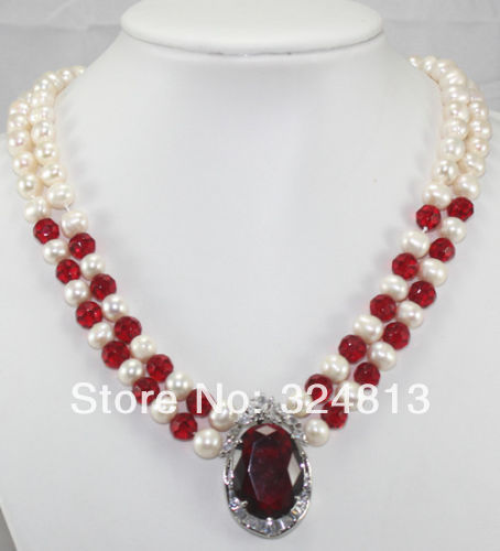Beautiful 2 rows white pearl Pink Jade blue red Crystal Pendant Necklace