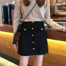 Autumn Winter Tweed Skirts Women Button Mini Pencil Plaid Wool Korean Bodycon High Waist Elegant Skirt Lady