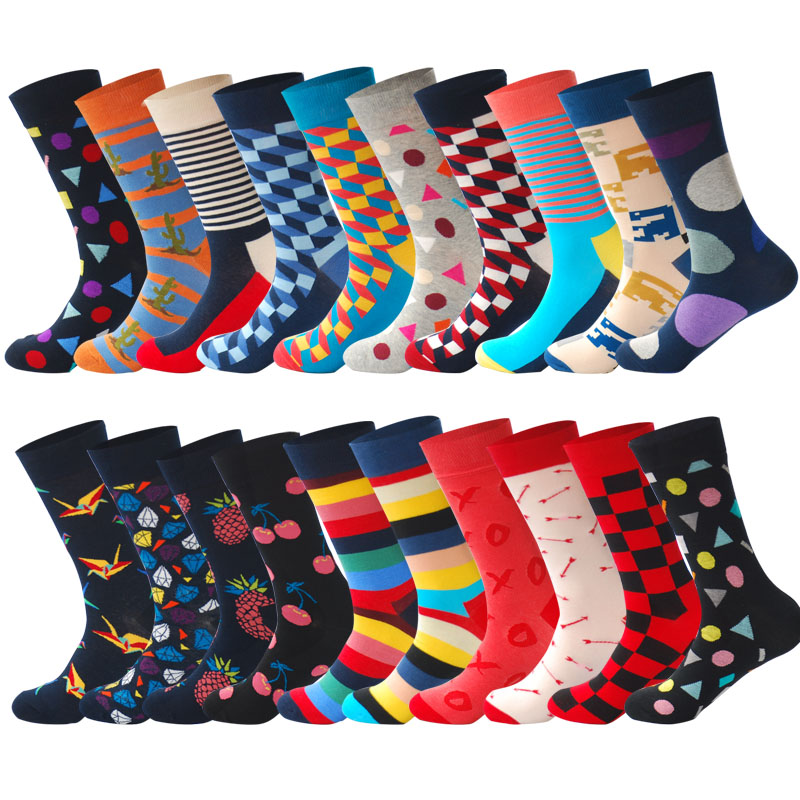 LIONZONE 20Pairs Lot Happy Socks Holiday Gifts for Men Colorful Designer Brand Men Socks Funny Calcetines