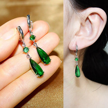 Luxury Fashion Long Water Drop Cubic Zirconia Green Royal Blue Red Pink stone Drop Earrings For Women Party Jewelry