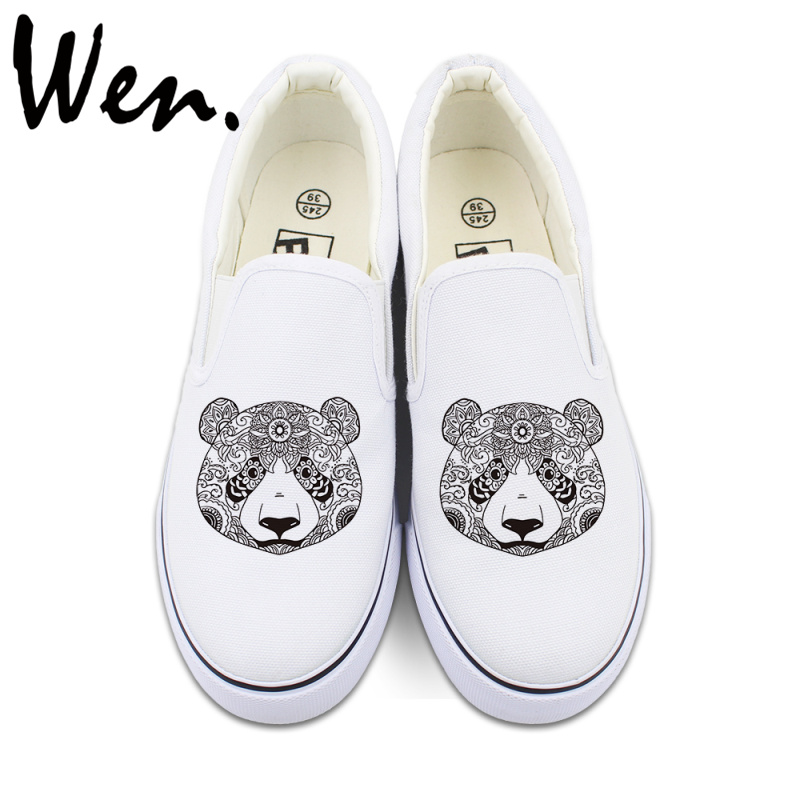 Wen Original Design Animal Panda Totem Slip On Canvas Shoes for Man Woman White Black Canvas Sneakers jaguar animal totem