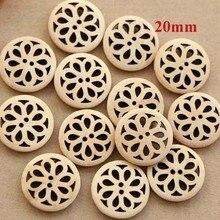 30 шт./лот Размер: 20 мм натуральный цвет полые кнопки цветочный дизайн деревянные пуговицы для шитья одежды(ss-3674-366