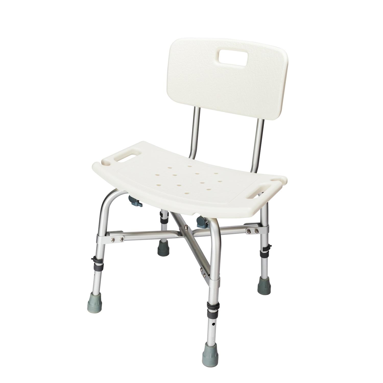 Heavy-duty Elderly Bath Shower Bench Chair Aluminum Alloy Medical Bath Seat Stool With Backrest Bathtub Chair For Old - US Stock