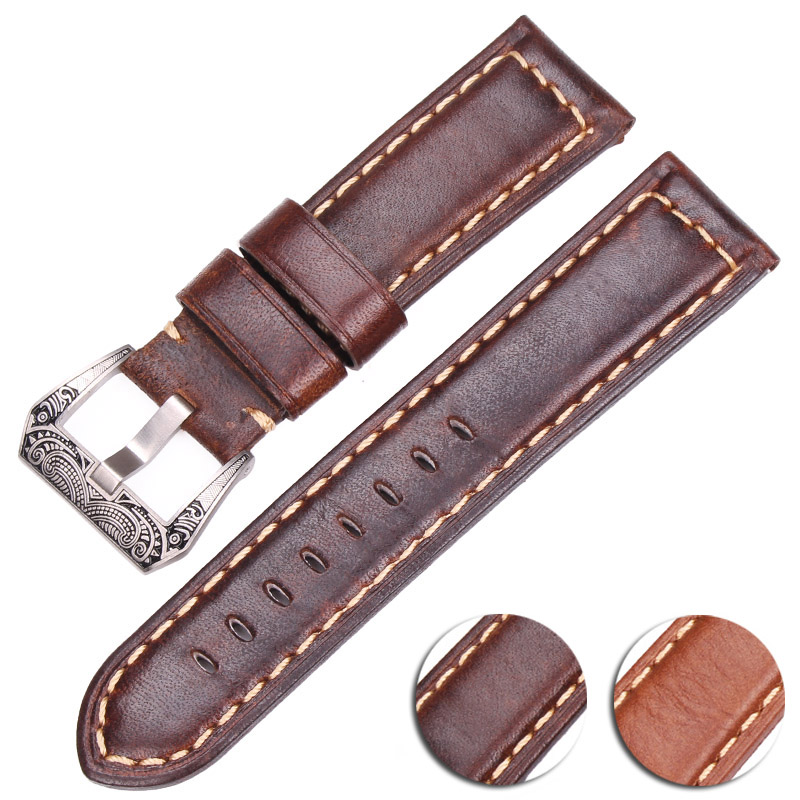 Genuine Leather Watchbands Men Women 22mm 24mm Watch Band Strap For <font><b>PAM</b></font> <font><b>Bracelet</b></font> With Stainless Steel Buckle image