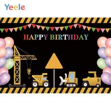 Yeele Happy Birthday Balloons Tonstruction Toy Car Photography Backdrops Personalized Photographic Backgrounds For Photo Studio