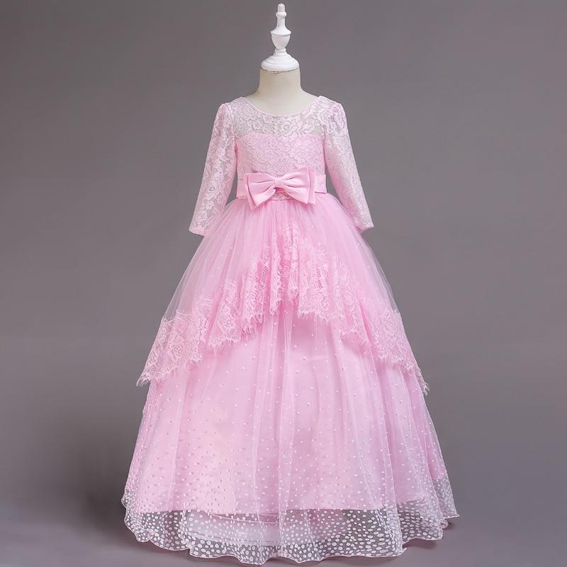 Menina grande vermelho ornamentado vestido de natal de alta qualidade rendas das crianças sem costas casamento vestido de princesa ponto floco de neve vestido romântico