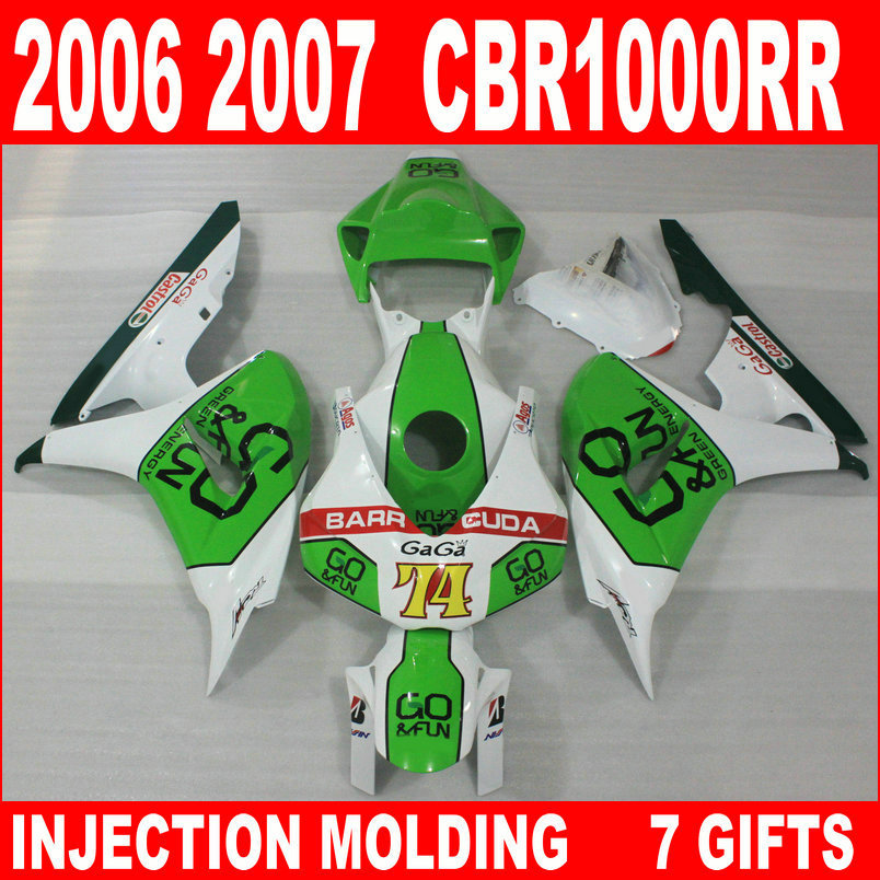 Factory outlet for HONDA cbr 1000 rr 2006 2007 new white black grass green fairings 06 07 CBR1000RR moto fairing INK94