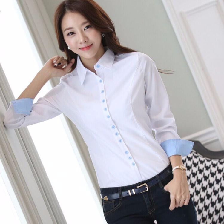 HTB1Dk3FLXXXXXbHXpXXq6xXFXXXo - Casual Blouse Long Sleeve Femininas Ladies Work Wear Tops Shirt