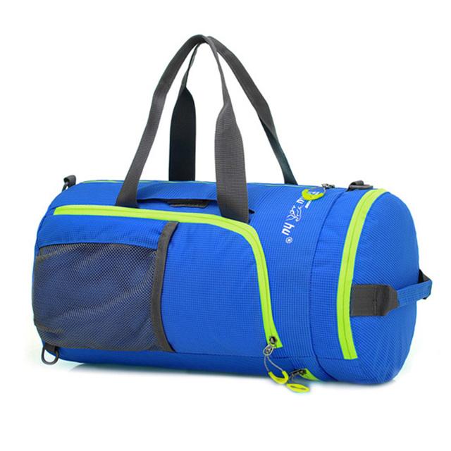 Barril bolsas duffle del recorrido Unisex negro azul Impermeable de Nylon de La Moda Portátil Bolsos de Los Hombres Mochila mochila bolsos deportivos