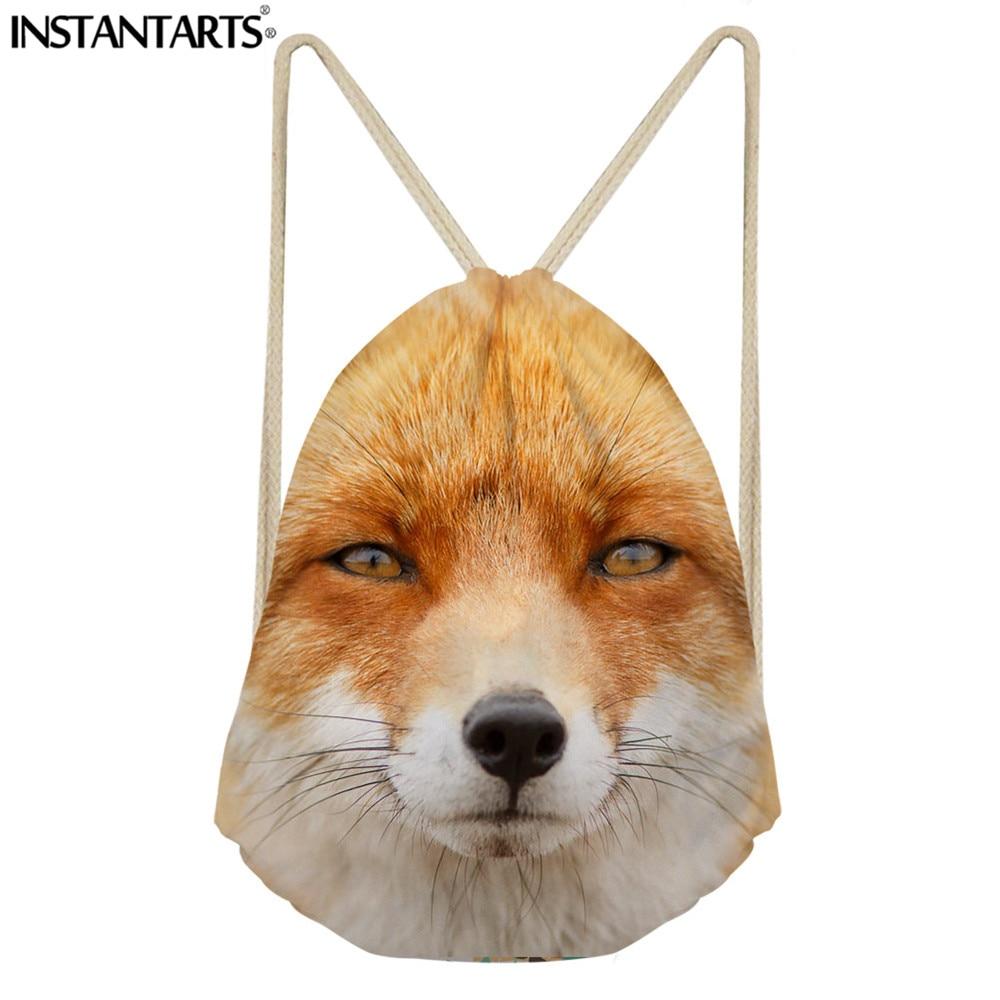 INSTANTARTS Women Fashion Drawstring Bag Travel Backpack 3D Cartoon Fox Print Hot Sale String Softback Female Teenager Schoolbag