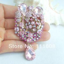 Брошь с букетом элегантные капля цветок брошь булавка w Розовый кристалл горного хрусталя EE06323C5