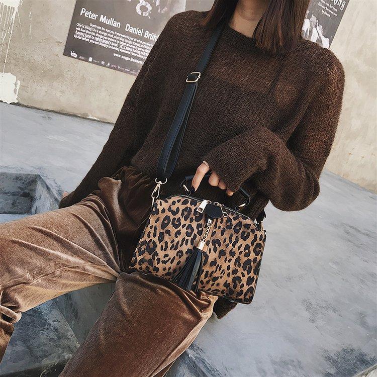 Super Di Sacchetti Delle Coreana Nuova 2018 Autunno Modo Leopardo Black Del Femminile Donne brown Borsa Selvaggio khaki Boston Spalla Versione E Inverno fuoco wwqTAx