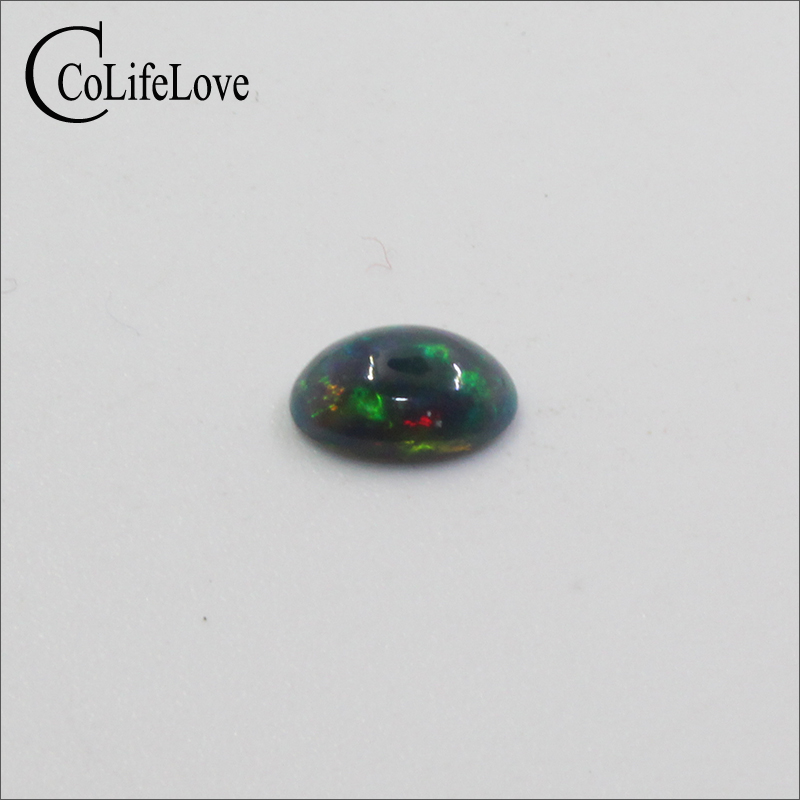 5mm*7mm natural treated black opal loose gemstone for jewelry making wholesale dyed black opal gemstone