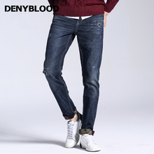 Denyblood Jeans Mens Distressed Jeans Ripped 2017 Autum Winter New Jeans Flower Fleece Warm Jeans Distroyed Casual Pants 158038A