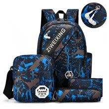 4Pcs/Set Printing Men Backpack Fashion Travel Bag High Capacity Woman School bag for Teenager Boys Girls 2019 New Blue Bookbag