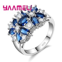 YAAMELI Luxury Women Wedding/Engagement Jewlery Rings S90 Silver Color Flower Crystal Pave Setting Ring Anillo For Sale(China)