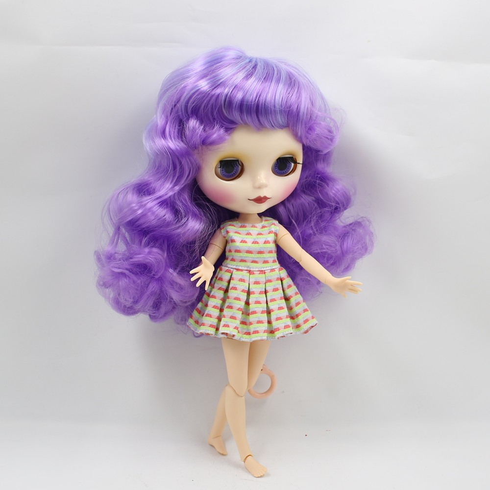 Neo Blythe Doll with Purple Hair, White Skin, Shiny Face & Jointed Body 7