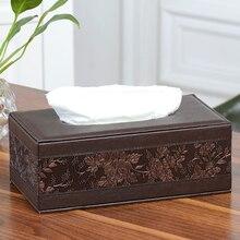 Leder Platz Rechteck Tissue Box Fern Lagerung schreibtisch veranstalter Papier Serviette Handtuch halter spender abdeckung auto Tissue Box