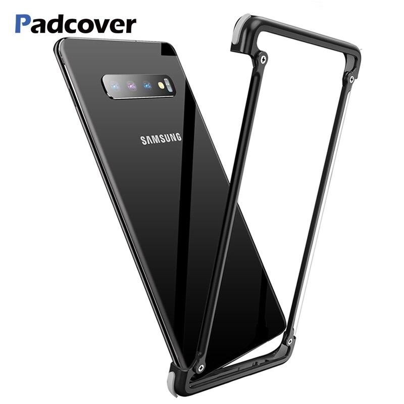 PADCOVER Airbag Original de Metal Caso para Samsung Galaxy Caso Shell Personalidade S10 S10 além de Metal Bumper Capa para Samsung Galaxy