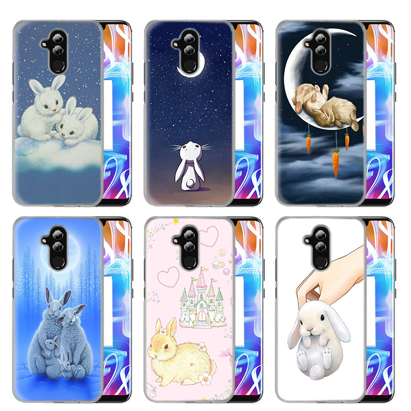 Case Cover For Huawei <font><b>Honor</b></font> P20 Mate 20 10 P10 P9 P8 8X <font><b>9</b></font> <font><b>Lite</b></font> P Smart + Plus 2017 2019 Nova 3i Clear Favorite Bunny Print Coque image
