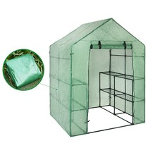 Portable Plastic Garden Greenhouse Cover Not Include Shelf For 2 Layer Mini Walk In Greenhouse Outdoor(China)